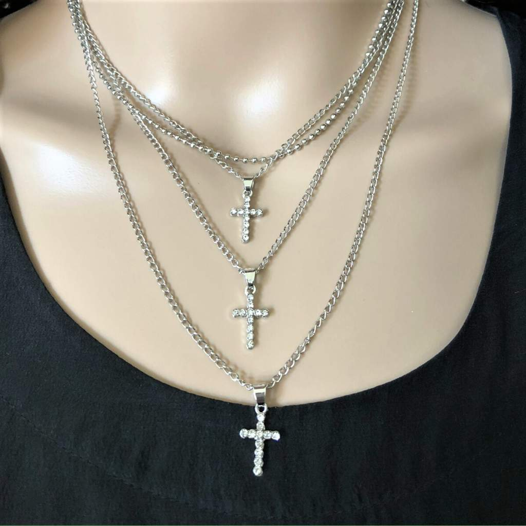 Layered Gold or Silver Crystal Cross Necklace - JaeBee Jewelry