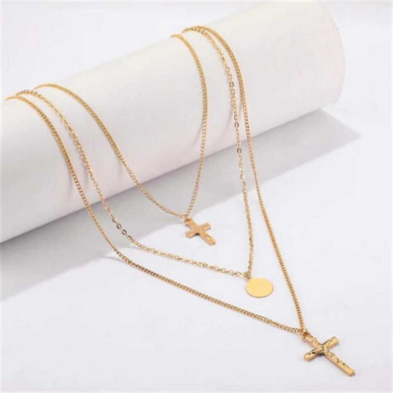 Gold Triple Layered Double Cross and Disc Necklace - JaeBee Jewelry