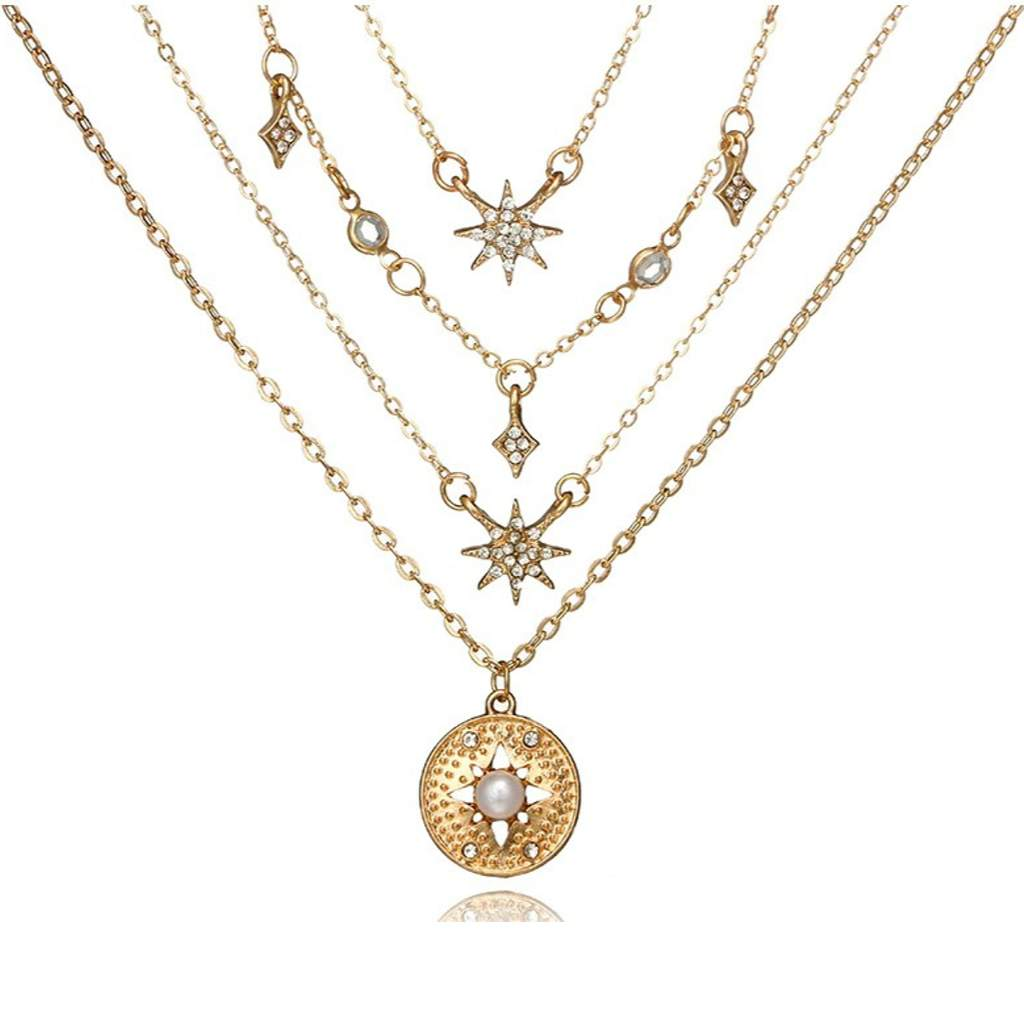 Gold Layered Star and Disc Necklace
