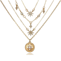 Gold Layered Starbursts and Disc Necklace - JaeBee