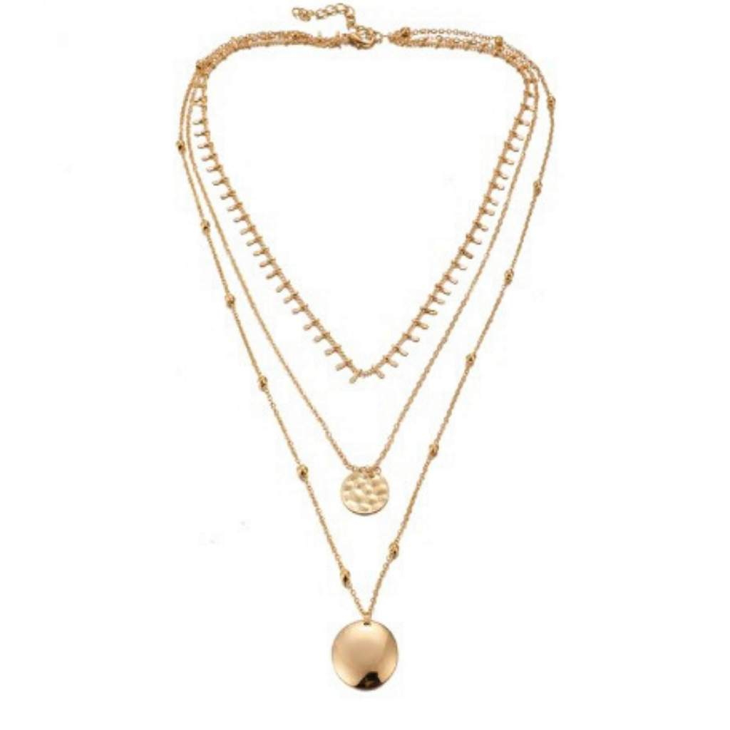 Gold Triple Chain Disc Layered Necklace - JaeBee Jewelry