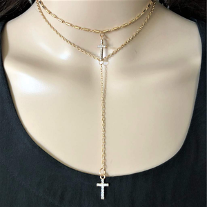 Crystal Double Layered Cross Gold or Silver Necklace - JaeBee Jewelry