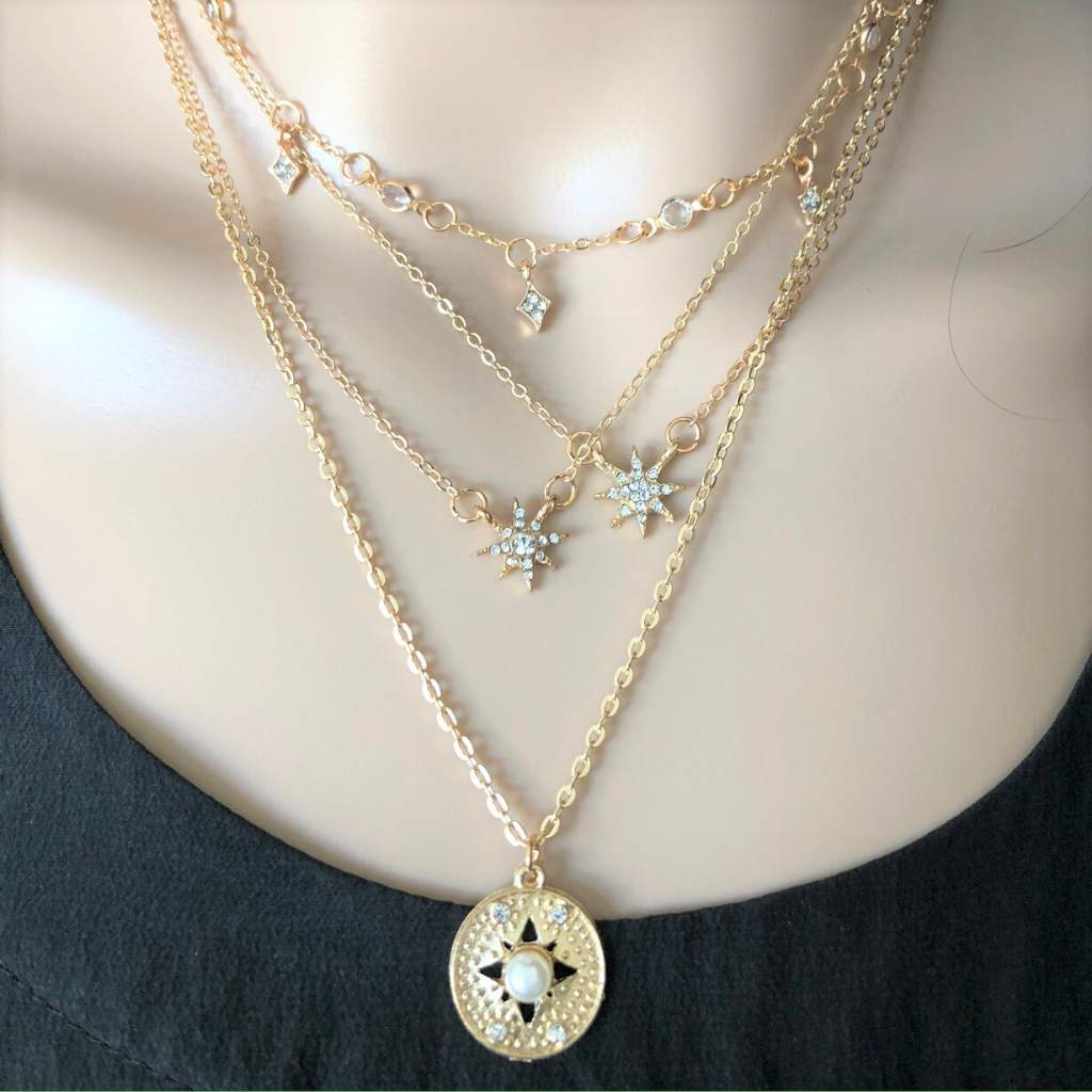 Gold Layered Starbursts and Disc Necklace