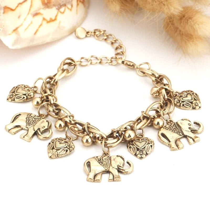 Gold Elephant and Heart Charm Bracelet - JaeBee Jewelry