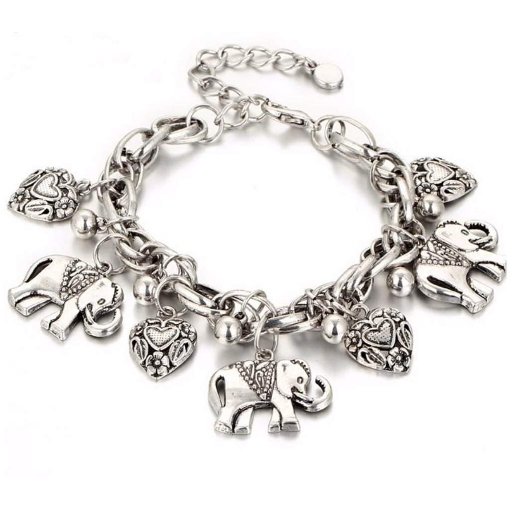 Silver Elephant and Heart Charm Bracelet - JaeBee Jewelry