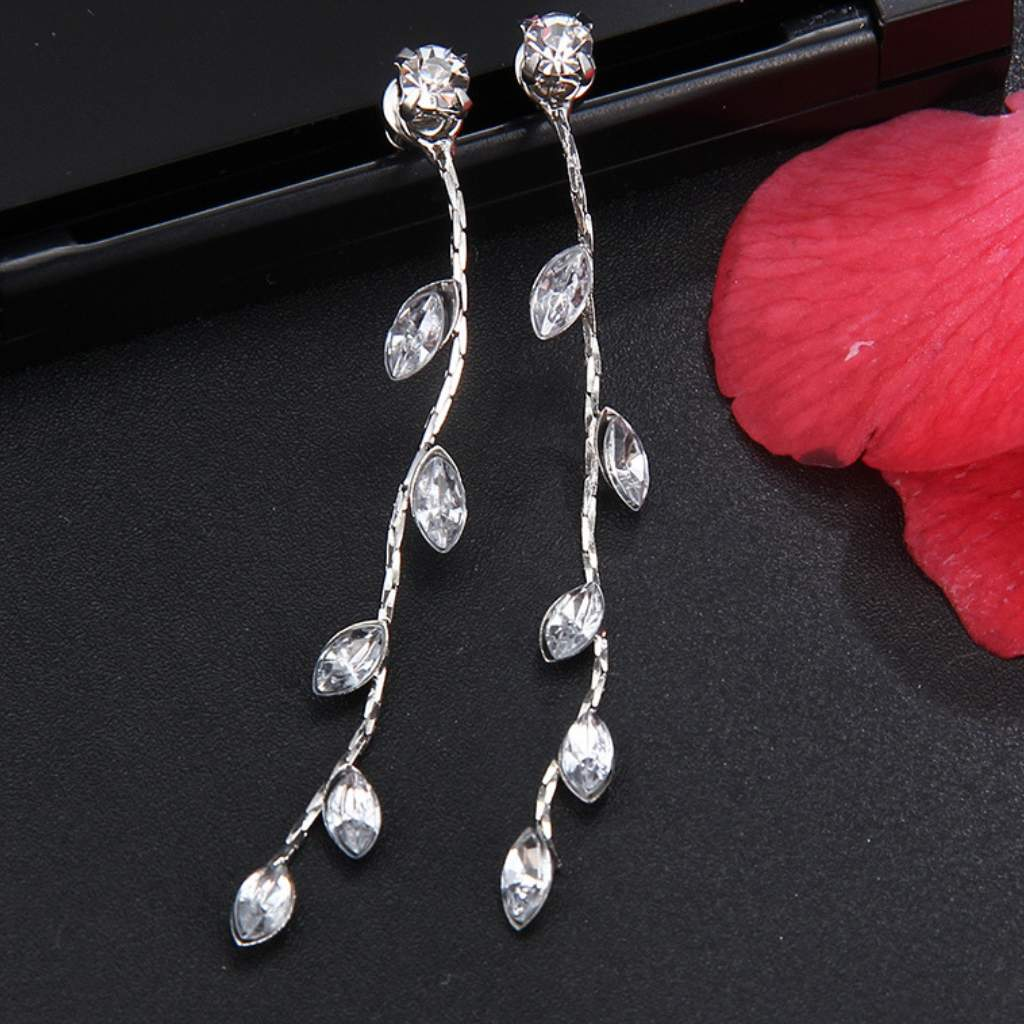 Crystal Leaves On Silver Chain Stud Earrings - JaeBee Jewelry
