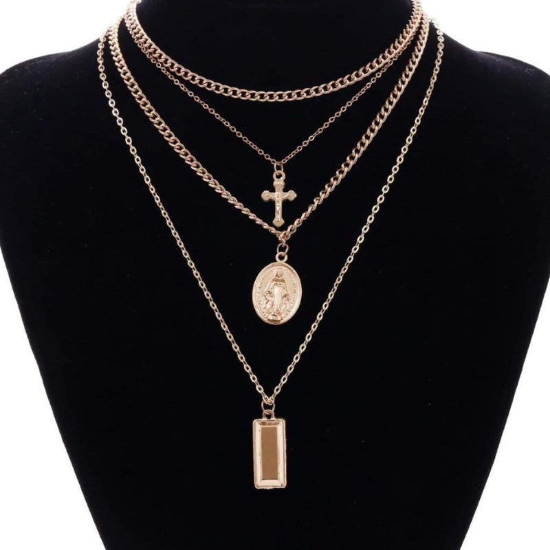 Gold Layered Mother Mary and Cross Necklace - JaeBee