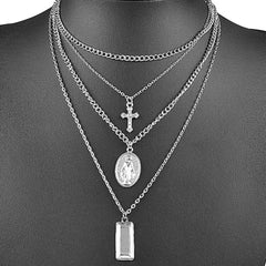 Silver Layered Mother Mary and Cross Necklace