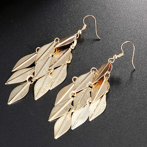 Gold Multi Leaf Long Dangle Earrings