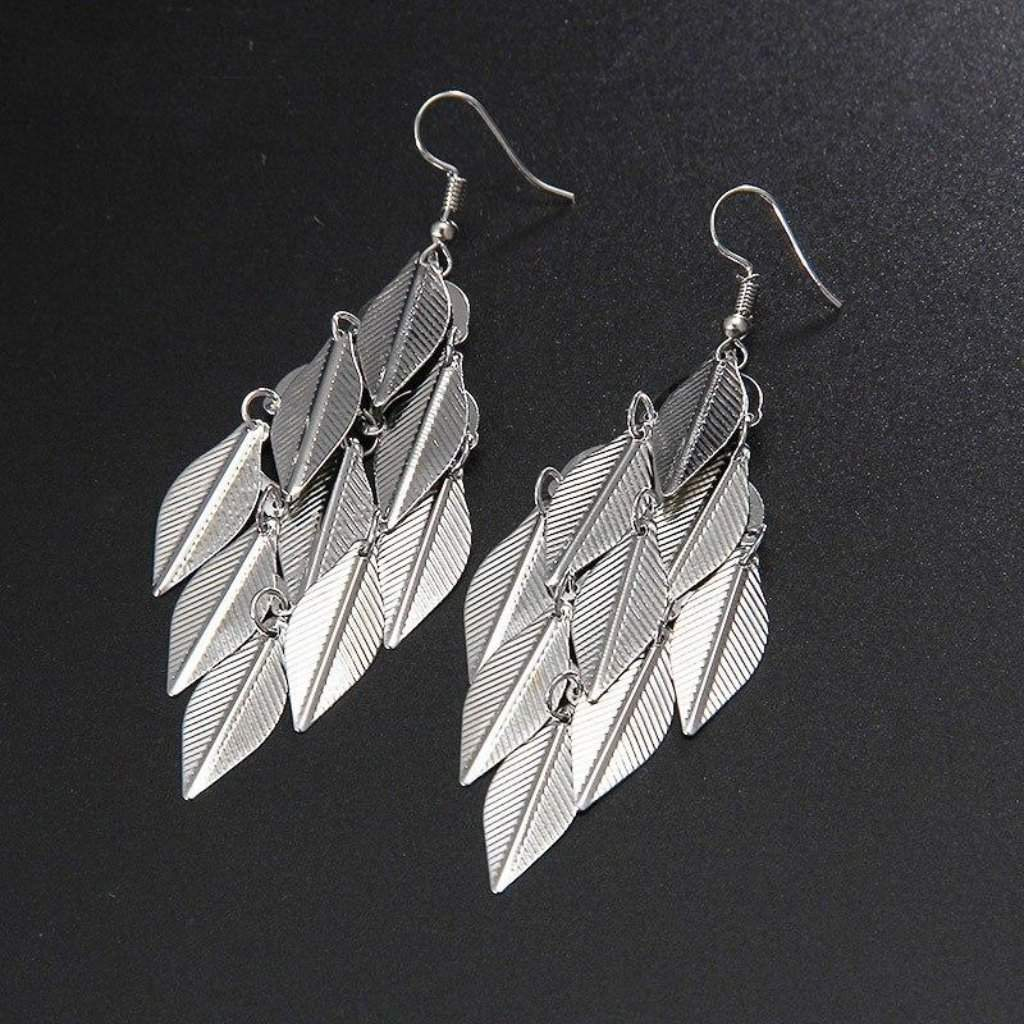 Silver Multi-Leaf Long Dangle Earrings