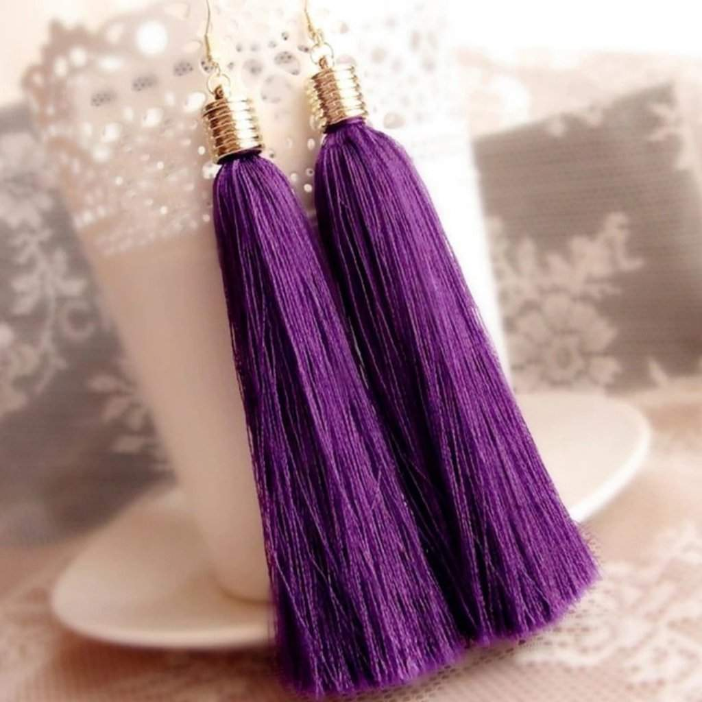 Long Purple Tassel Earrings