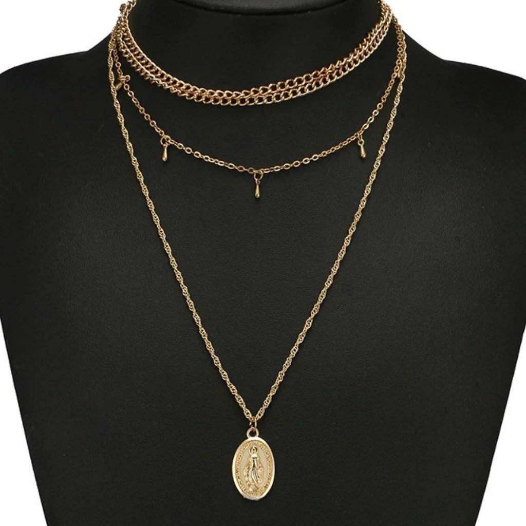Gold Long Layered Virgin Mary Necklace - JaeBee Jewelry