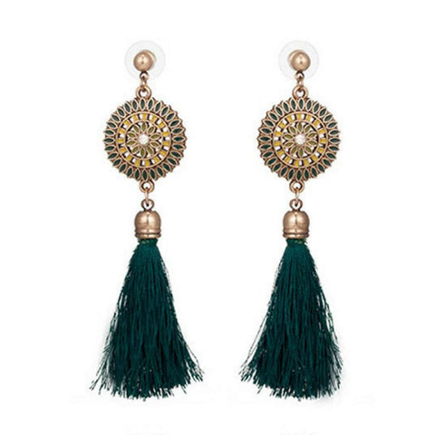 Green Bohemian Gold Disc and Tassel Earrings