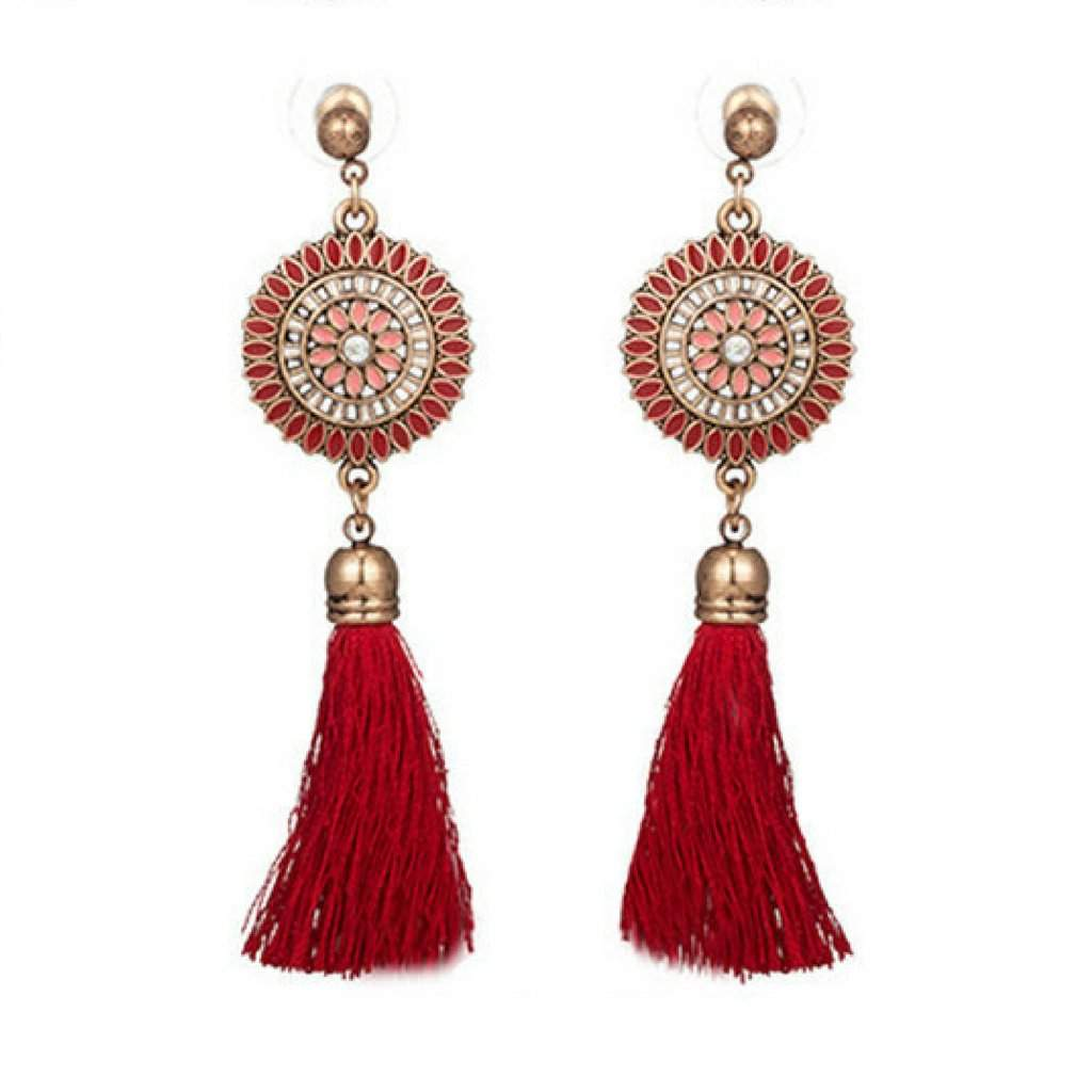 Red Bohemian Gold Disc and Tassel Earrings - JaeBee Jewelry