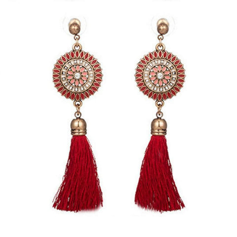 Red Bohemian Gold Disc and Tassel Earrings