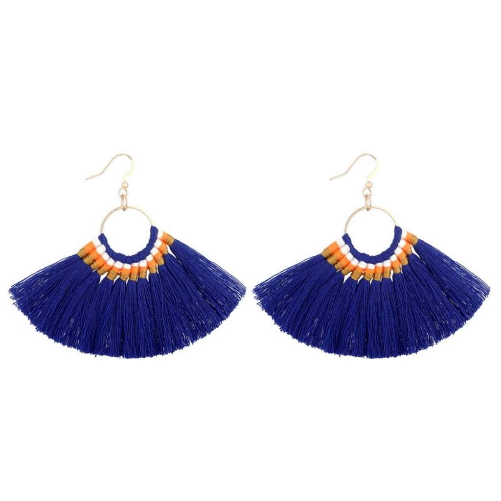 Navy Blue Tassel Fan Dangle Earrings