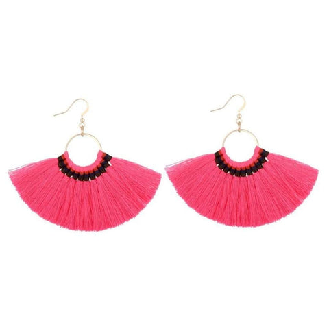 Pink Tassel Fan Dangle Earrings