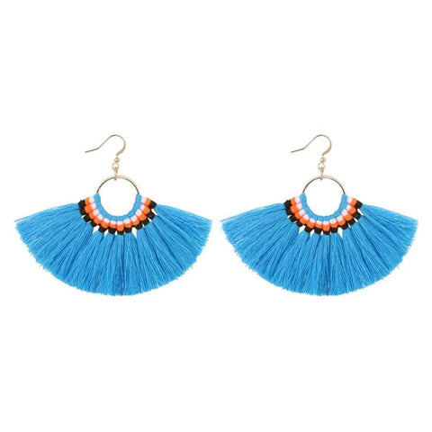 Turquoise Blue Tassel Fan Dangle Earrings