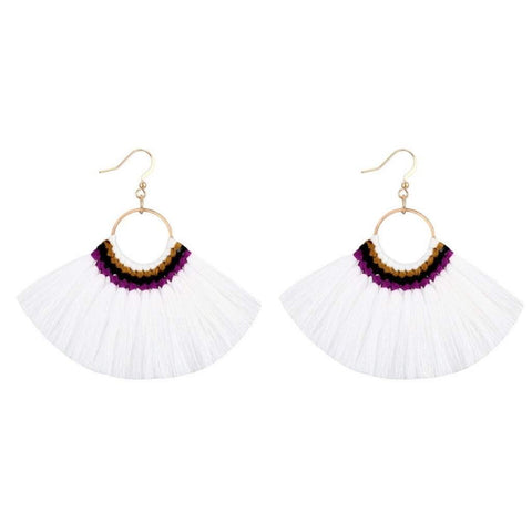 White Tassel Fan Dangle Earrings