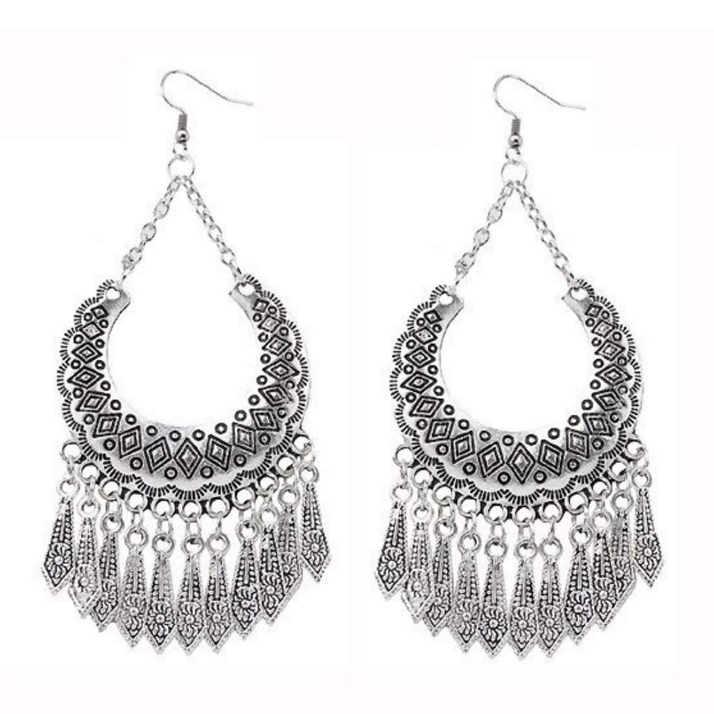 Silver Boho Long Dangle Earrings