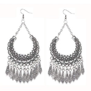Silver Boho Long Dangle Earrings - JaeBee Jewelry