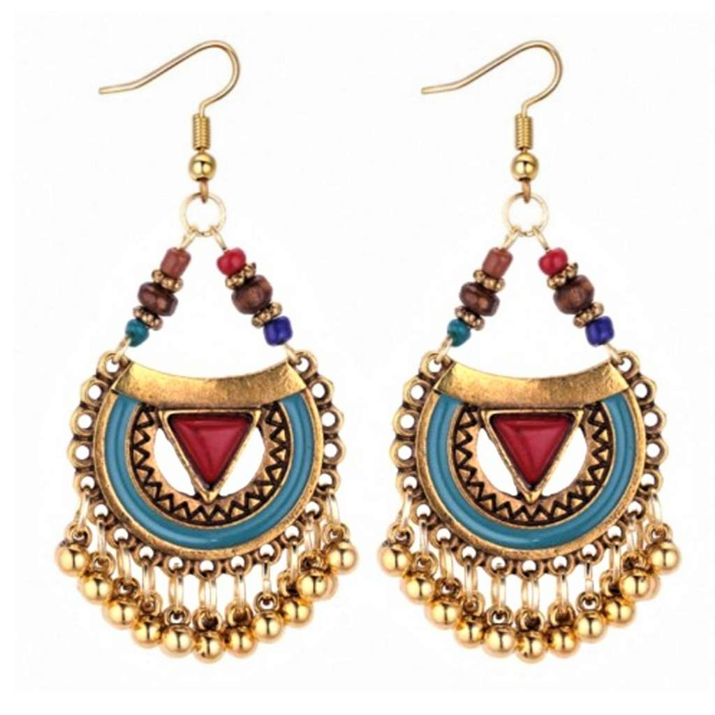 Red and Blue Enamel and Gold Boho Dangle Earrings - JaeBee Jewelry