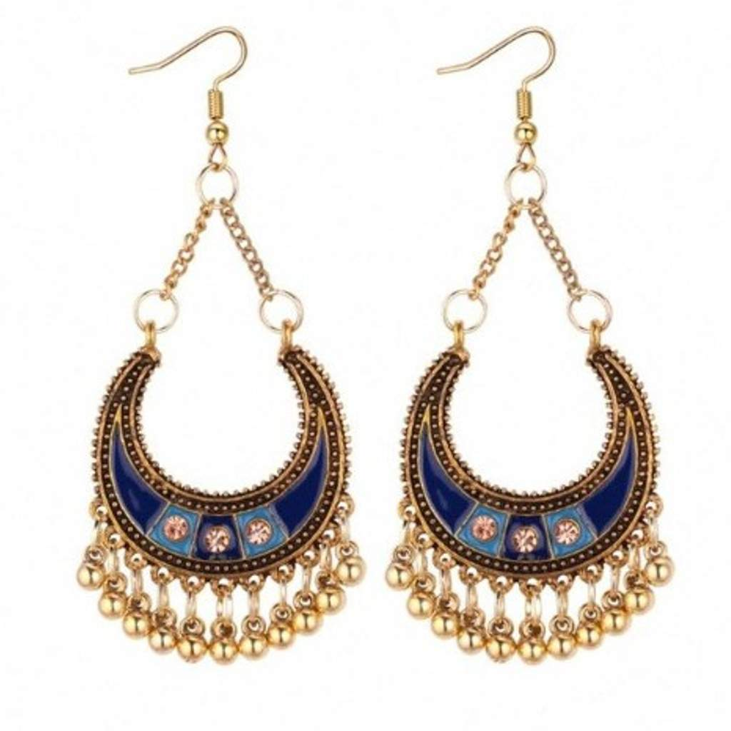 Blue Enamel and Gold Half Moon Boho Earrings - JaeBee Jewelry
