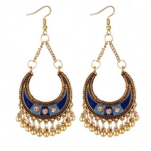 Blue Enamel and Gold Half Moon Boho Earrings