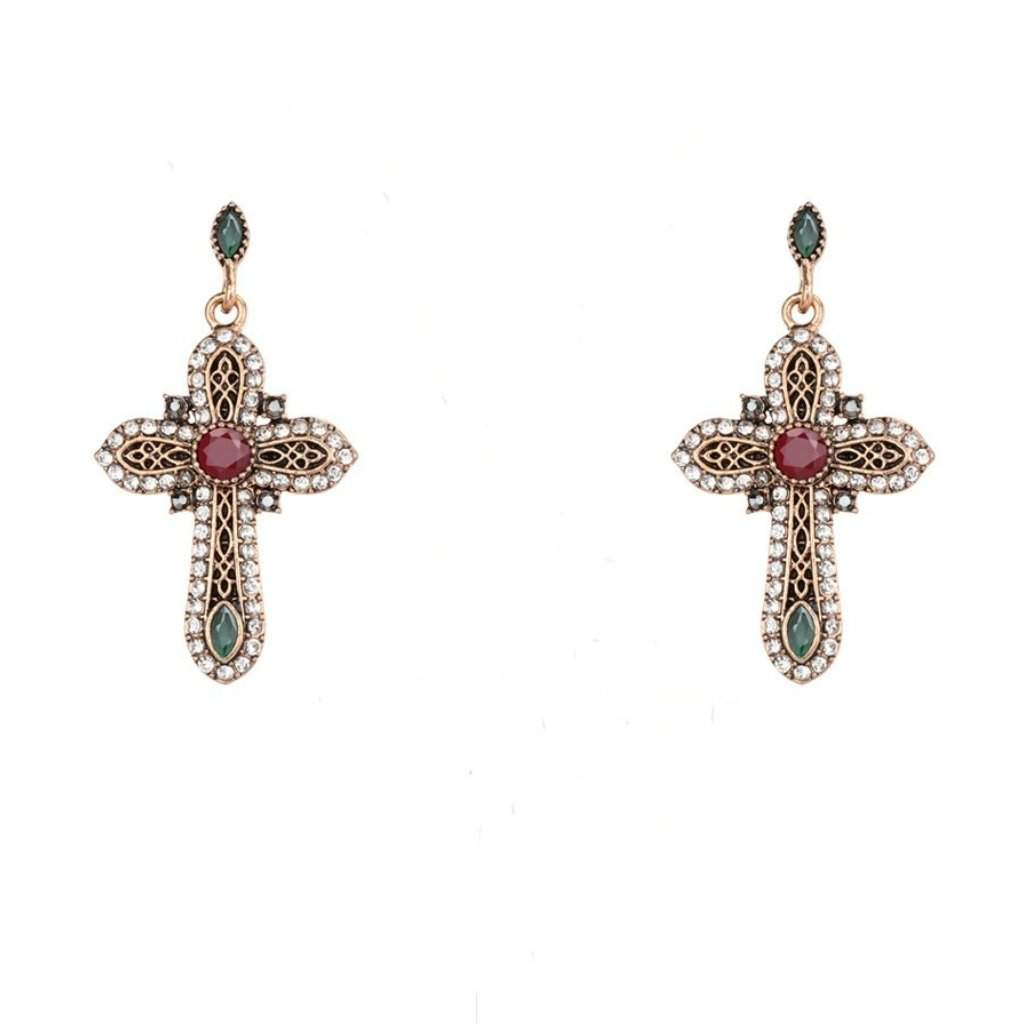 Gold Ornate Crystal Religious Cross Earrings - JaeBee Jewelry