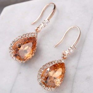 Gold Crystal Teardrop Earrings - JaeBee Jewelry