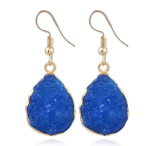 Blue Druzy Teardrop Dangle Earrings