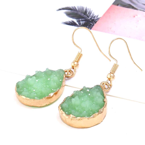 Green Druzy Teardrop Dangle Earrings