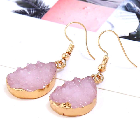 Pink Druzy Teardrop Dangle Earrings