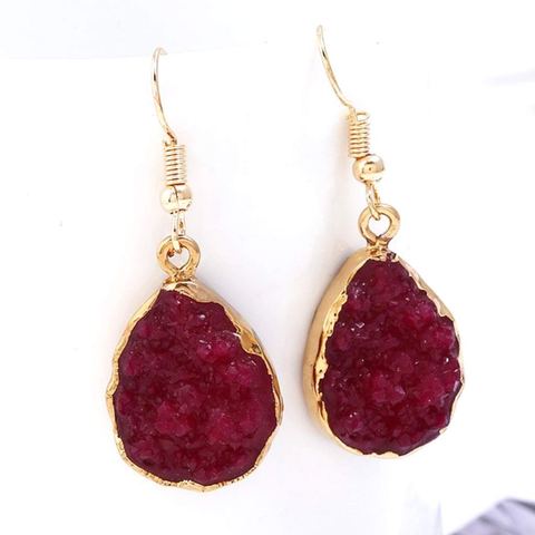 Burgundy Druzy Teardrop Dangle Earrings