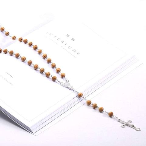 Brown Wood Rosary Religious Mens Necklace