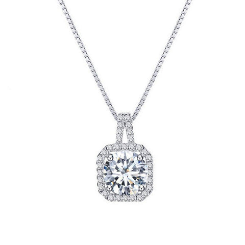 Crystal Cushion Pendant Necklace