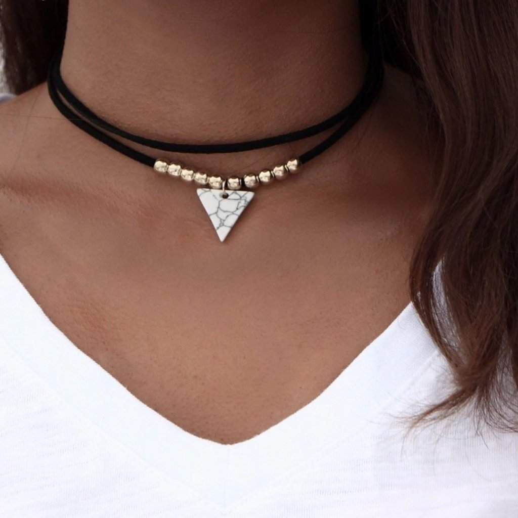 Black Suede Choker with White Triangle Pendant - JaeBee Jewelry