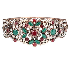 Antique Gold Ornate Red, Green and Clear Crystal Hinged Bangle Bracelet - JaeBee Jewelry