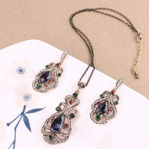Antique Gold Ornate Blue and Green Stone Pendant and Earring Set - JaeBee Jewelry