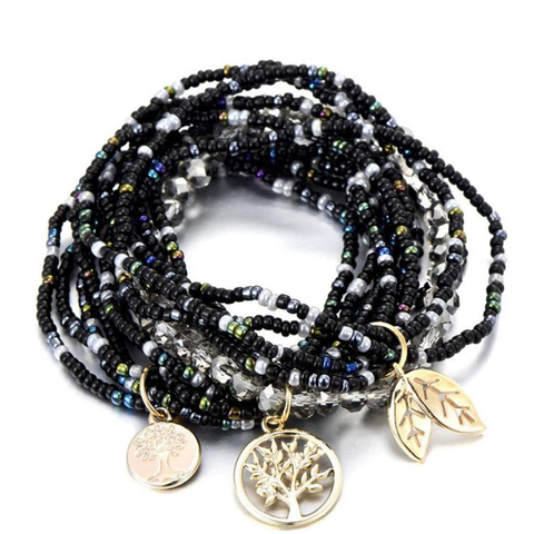 Black Seed Bead Multi-Layered Bracelet
