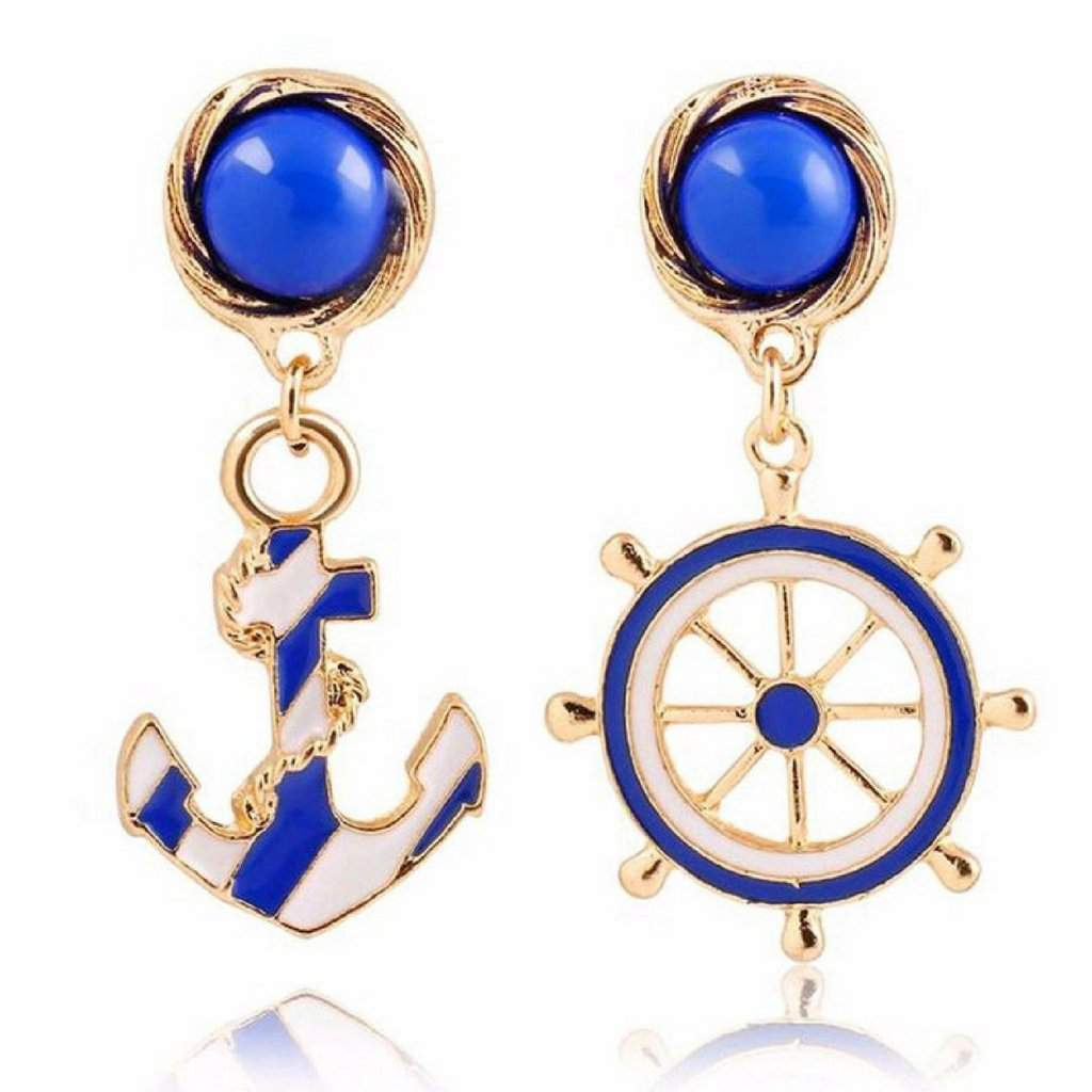 Blue and White Nautical Wheel and Anchor Post Earrings - JaeBee Jewelry