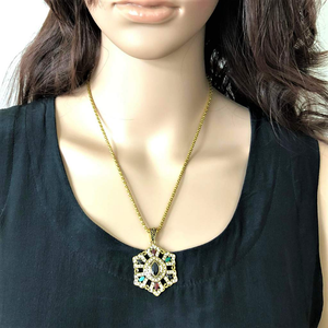 Gold Vintage Multi Colored Stone Pendant Necklace - JaeBee Jewelry