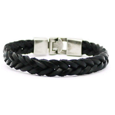 Black Leather Mens Braided Bracelet