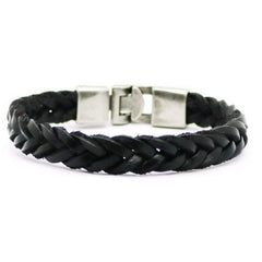 Black Leather Mens Braided Bracelet - JaeBee Jewelry