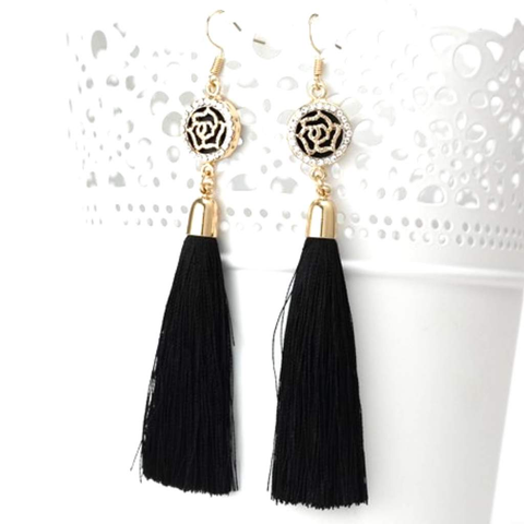 Black Tassel Earrings with Gold and Crystal Flower Charm