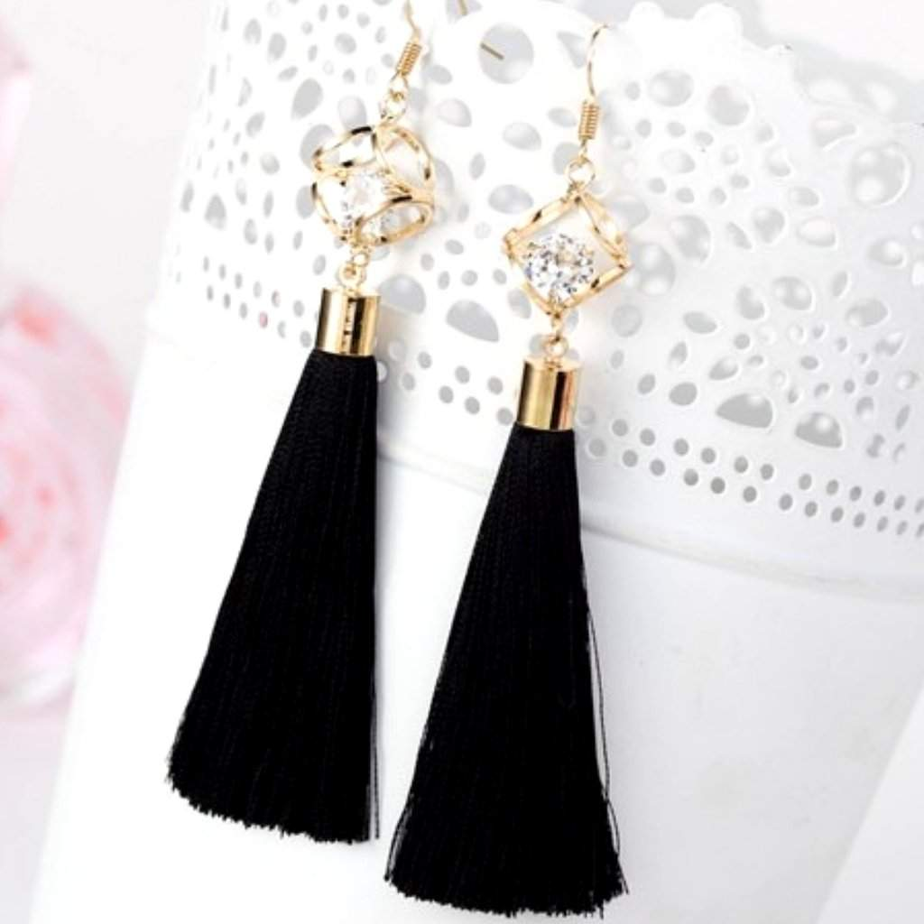 Black Tassel Earrings with Gold Square and Crystal - JaeBee Jewelry