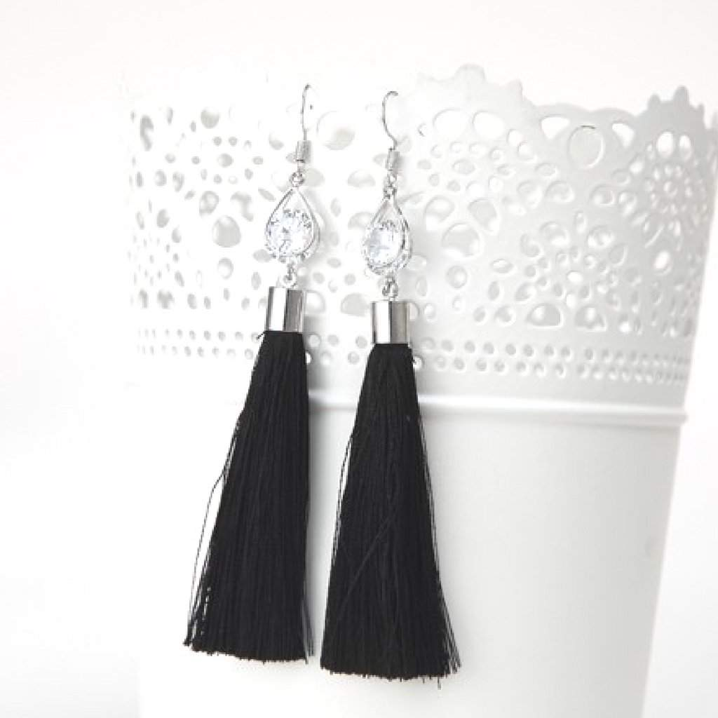 Black Tassel Earrings with Silver Oval and Crystal - JaeBee Jewelry
