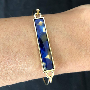 Blue Marbled Gold Bar Bracelet - JaeBee Jewelry