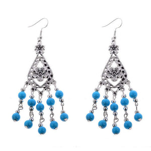 Royal Blue and Silver Beaded Flower Dangle Earrings