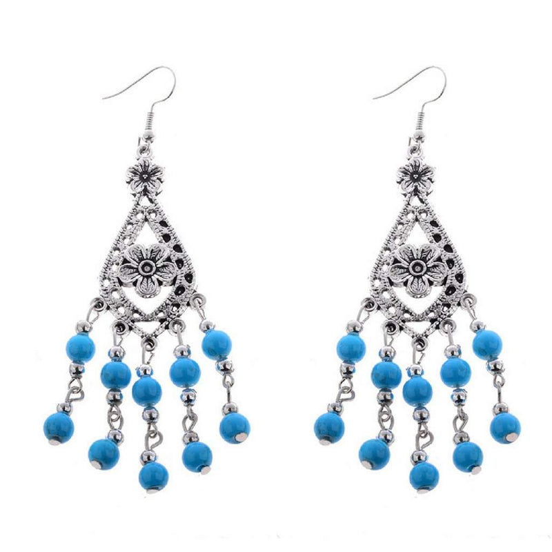 Royal Blue and Silver Beaded Flower Dangle Earrings - JaeBee Jewelry